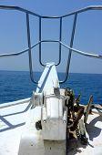 Anchor at forward pulpit of boat