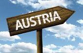 Austria wooden sign on a beautiful day