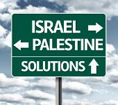 Israel, Palestine, Solutions sign on a cloudy background