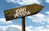 Jo�?�£o Pessoa, Brazil wooden sign on a beautiful day