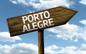 Porto Alegre, Brazil wooden sign on a beautiful day