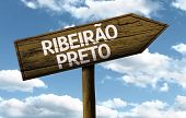 Riber�?�£o Preto, Brazil wooden sign on a beautiful day