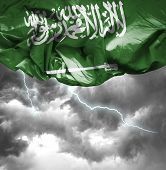 Saudi Arabia waving flag on a bad day