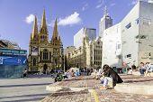 MELBOURNE, AUSTRALIA - CIRCA JAN 2014: People at Federation Square in Melbourne, Australia.