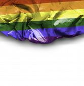 LGBT waving flag on white background
