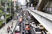 BANGKOK, THAILAND - CIRCA MAY 2014: Traffic in Bangkok city, Thailand.