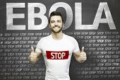 Campaign against Ebola by a man on blackboard background
