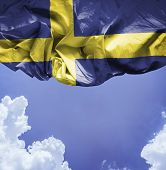 Sweden waving flag on a beautiful day