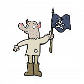 picture of pirate flag  - cartoon wolf man waving pirate flag - JPG