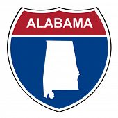 stock photo of alabama  - Alabama American interstate highway road shield isolated on a white background - JPG