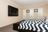 foto of master bedroom  - Master bedroom with built in flat screen TV - JPG