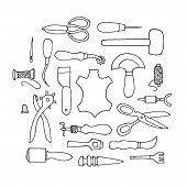 image of leather tool  - Hand drawn Leather working tools on white background - JPG