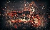 foto of fiery  - Fiery burning motorbike conceptual image with flames erupting from the wheels and frame depicting extreme sport - JPG