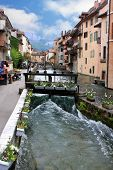 stock photo of annecy  - street by a canal in Annecy - JPG