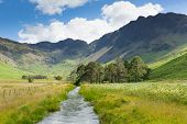 image of haystack  - Haystacks mountain from Buttermere UK Cumbrian Lake District from Peggys Bridge - JPG