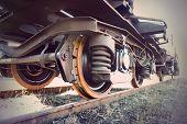 image of train-wheel  - Low angle view of wheel of vintage train - JPG