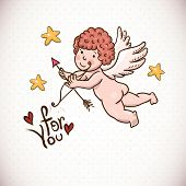 picture of cupid  - Doodle Vintage Greeting Card with Cartoon Cupid - JPG