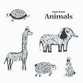 picture of baby sheep  - Sketch of Hand Draw Black and White Animals in Triangular Style - JPG