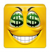 stock photo of greedy  - Illustration on white background of Square emoticon greedy - JPG