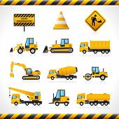 picture of excavator  - Construction machines decorative icons set with bulldozer excavator loader isolated vector illustration - JPG