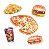 stock photo of food chain  - Fast food restaurant lunch menu with hand drawn pizza and hotdog pictograms composition watercolor vector isolated illustration - JPG
