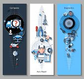 foto of spare  - Car repair banners vertical set with spares repair and diagnostics elements isolated vector illustration - JPG