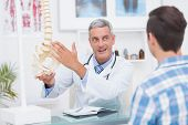 picture of spine  - Doctor showing his patient a spine model in medical office - JPG