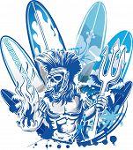 image of poseidon  - poseidon death surfer on blue surfboard background - JPG