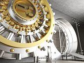 picture of vault  - 3d image of huge vault door - JPG