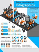 stock photo of petroleum  - Petroleum isometric infographics set with oil production and distribution symbols and charts vector illustration - JPG
