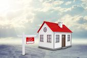 image of gable-roof  - White house for rent with red roof - JPG