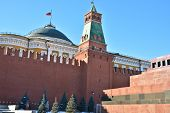 stock photo of lenin  - Red square the Moscow Kremlin and the Lenin mausoleum - JPG
