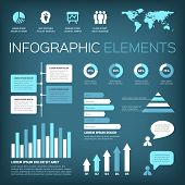 picture of aquamarine  - Collection of infographic vector illustration elements with world map and icons - JPG