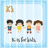 picture of letter k  - Flash card letter K is for kids - JPG