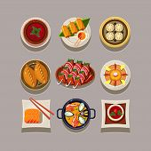 picture of korean  - Korean food Vector illustration in modern style for different use - JPG
