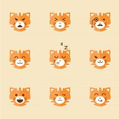 picture of angry smiley  - Vector icons of smiley cat faces set - JPG