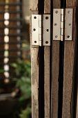 pic of wooden door  - Old door hinge on wooden door vintage style - JPG