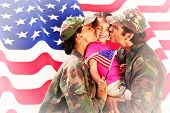 stock photo of reunited  - Soliders reunited with children against rippled us flag - JPG
