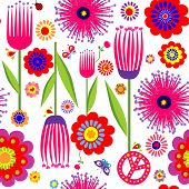 stock photo of hippy  - Abstract floral colorful wallpaper with hippie symbolic - JPG