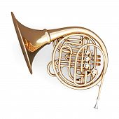 picture of wind instrument  - French horn on a white background - JPG