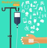 picture of solution  - saline solution bag with pole patient  - JPG