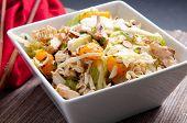stock photo of mandarin orange  - chicken and mandarin orange summer salad with toasted almonds - JPG