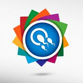 pic of human egg  - Sperms and egg icon color icon vector illustration - JPG