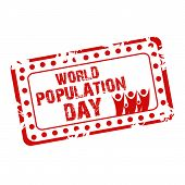 image of population  - illustration of a grungy stamp for World Population Day - JPG