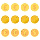 picture of yen  - Three variations of coins - JPG