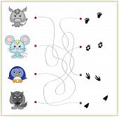 pic of wild donkey  - Donkey mouse penguin and wolf with their traces - JPG