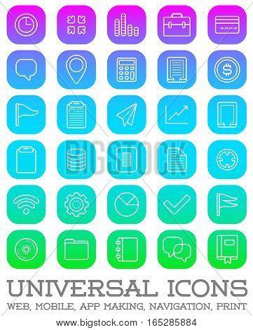 30 Universal Icons Set For All Purposes Web, Mobile, App Making, Navigation, Print