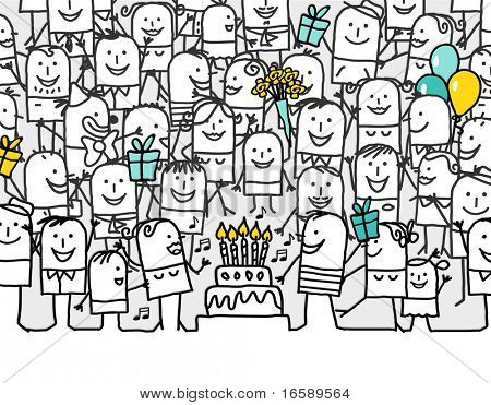 happy birthday hand drawn cartoon