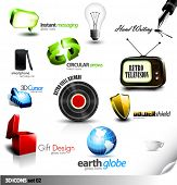 Set of detailed 3D vector Icons - Retro television, Vinyl Record, Gift, Chat, Cursor and other eleme