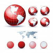 3D Icons: Glossy Earth Globes. Different views. Elements available for making other views